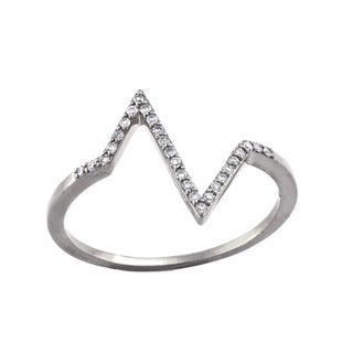 Beverly Hills Charm 10k White Gold 1/10ct TDW Stackable Heartbeat Diamond Ring