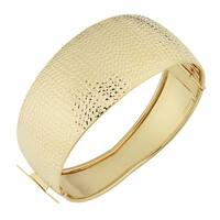Fremada Italian 14k Yellow Gold Diamond-Cut And High Polish Bold Bangle Bracelet
