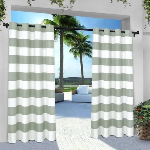 ATI Home Indoor/Outdoor Stripe Grommet Top Curtain Panel Pair