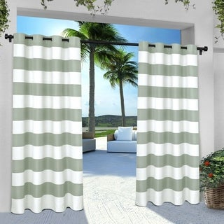 ATI Home Indoor/Outdoor Stripe Grommet Top Curtain Panel Pair (More options available)