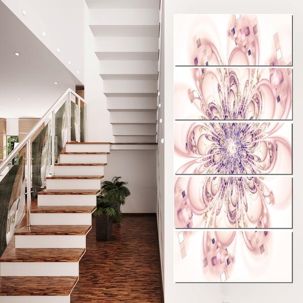 Full Bloom Fractal Flower in Pink - Large Flower Canvas Wall Art