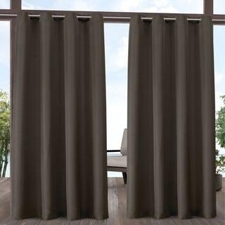 ATI Home Indoor/Outdoor Solid Cabana Grommet Top Curtain Panel Pair (54X120 - Chocolate)
