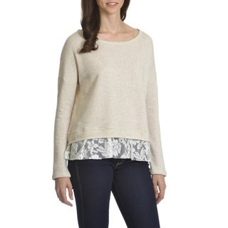 Retro-ology Women's Lace-hem French Terry Top
