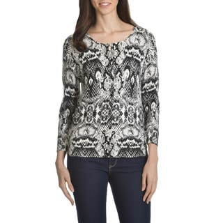 Verve Ami Women's Python-print Button-front Cardigan Sweater