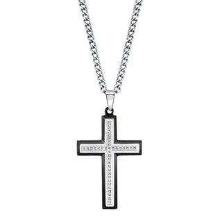 Men's Diamond and Stainless Steel Cross Pendant