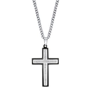 Men's Diamond and Stainless Steel Cross Pendant
