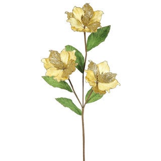 33-inch Gold Magnolia with 3 4-inch Flowers (Pack of 6)