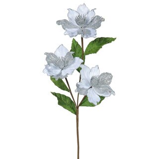 33-inch Silver Magnolia with 4-inch Flowers (Pack of 6)