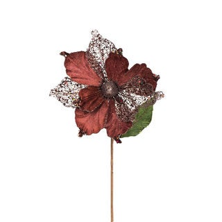 Vickerman Mocha 22-inch Faux Magnolia With 8-inch Flower (Pack of 6)