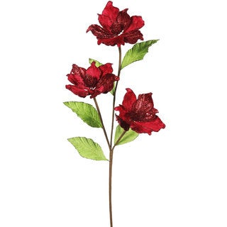 33-inch Red Magnolia with 3 4-inch Flowers (Pack of 6)