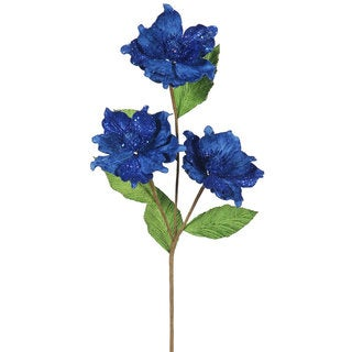 Vickerman 33-inch Blue Magnolia With 3 4-inch Flowers (Pack of 6)
