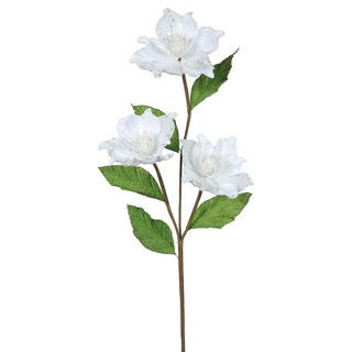 33-inch White Synthetic Magnolia with 3 4-inch Flowers (Pack of 6)