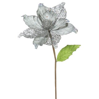 22-inch Pewter Magnolia with 8-inch Flower (Pack of 6)
