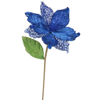 Blue 8-inch Magnolia Flower with 22-inch Stem (Pack of 6)