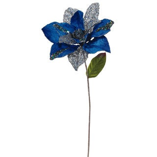 31-inch Blue Polyester Glitter Magnolia with 13-inch Flower