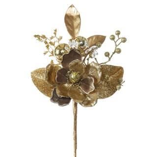 Vickerman 19-inch Gold Magnolia Spray (Pack of 3)