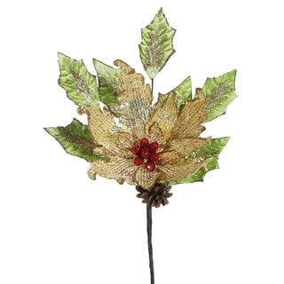 Vickerman Gold Sequin 22-inch Poinsettia Spray (Pack of 4)