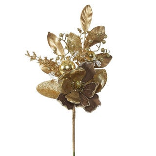 Gold Magnolia 22-inch Spray (Pack of 3)