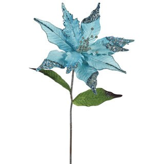 26-inch Sea Blue Plastic Poinsettia with 12-inch Flower (Pack of 3)