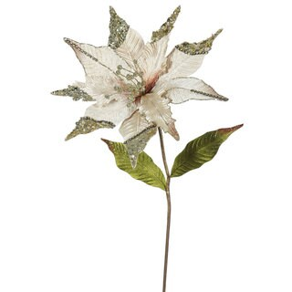 Vickerman Champagne 26-inch Faux Poinsettia With 12-inch Flower (Pack of 3)