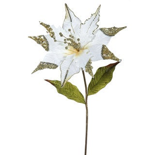 Vickerman 26-inch Cream Poinsettia with 12-inch Flower (Pack of 3)