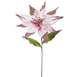 26-inch Pink Poinsettia with 12-inch Flower (Pack of 3)