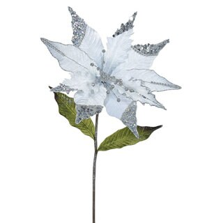 26-inch Silver Poinsettia with 12-inch Flower (Pack of 3)