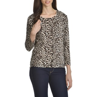 Verve Ami Women's Animal-print Button-front Cardigan Sweater