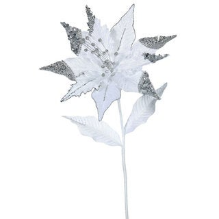 Christmas White Plastic 26-inch Poinsettia with 12-inch Flower (Pack of 3)