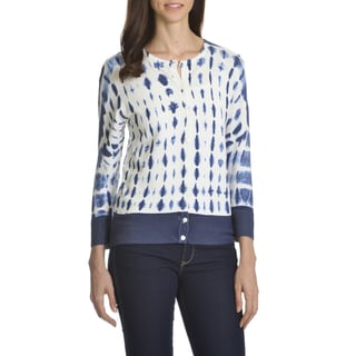 Verve Ami Women's Navy Spots-print Button-front Cardigan Sweater