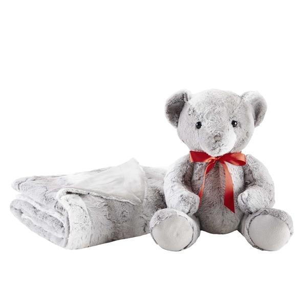 Madison Park Faux Fur Throw with Bonus Teddy Bear