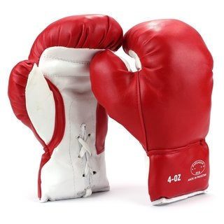 Velocity Toys Kids Youth Red Synthetic Leather Training Boxing Gloves