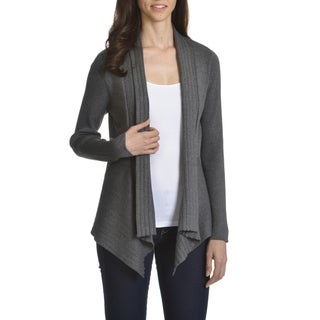 89th & Madison Women's Rayon/Polyester UneveN-hem Open Fly-away Cardigan