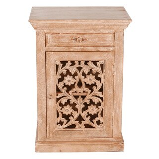 Magnolia Rustic Reclaimed Wood and Metal Nightstand (India)