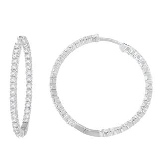 10k White Gold 2ct TDW Round-cut Diamond Circle Hoop Earrings