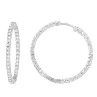 10K White Gold 2ct TDW Round-cut Diamond Circle Hoop Earrings (I-J,I1-I2)