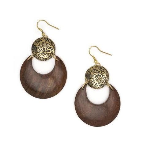 Handmade Earth and Fire Lunar Earrings (India)