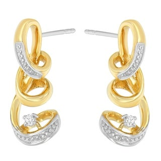 Espira 10K Two Tone Gold 0.05 ct. TDW Round cut Diamond Earring (I-J, I1-I2)