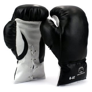 Velocity Toys Kids' Black 6-ounce Youth Lace-Up Training Boxing Gloves