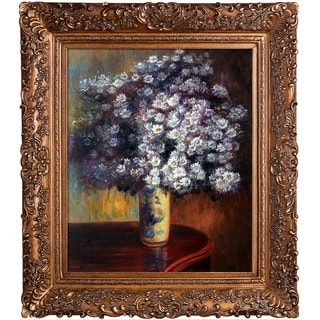 Claude Monet 'Asters, 1880' Hand Painted Framed Canvas Art