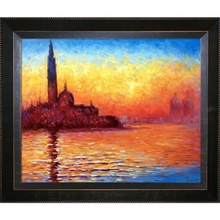Claude Monet 'San Giorgio Maggiore by Twilight' Hand Painted Framed Canvas Art
