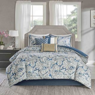 Link to Madison Park Lira Blue Comforter 7 Piece Set Similar Items in As Is