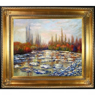 Claude Monet 'Floating Ice near Vetheuil' Hand Painted Framed Canvas Art