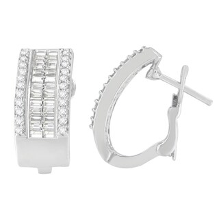 14K White Gold 1ct. TDW Round and Baguette-cut Diamond Earrings (H-I,SI2-I1)