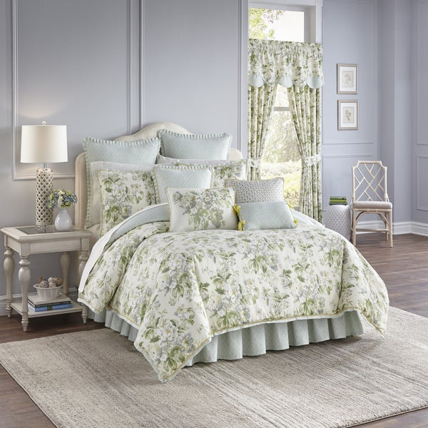 Superior Waverly Fleuretta Green And Blue Reversible 4 Piece Cotton Comforter Set