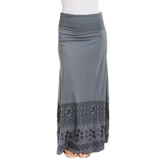 Women's Organic Cotton Om Printed Gypsy Maxi Foldover Skirt (Nepal)