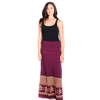 Women's Organic Cotton Om Printed Gypsy Maxi Foldover Skirt (Nepal)