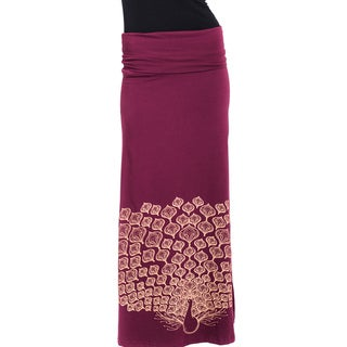 Women's Organic Cotton Peacock Printed Gypsy Maxi Foldover Skirt (Nepal)