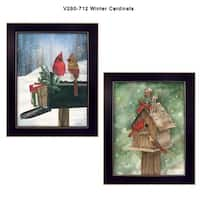 """""""Winter Cardinals"""" Collection By Diane Weaver, Printed Wall Art, Ready To Hang Framed Poster, Black Frame"""