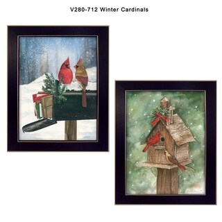 """Winter Cardinals"" Collection By Diane Weaver, Printed Wall Art, Ready To Hang Framed Poster, Black Frame"